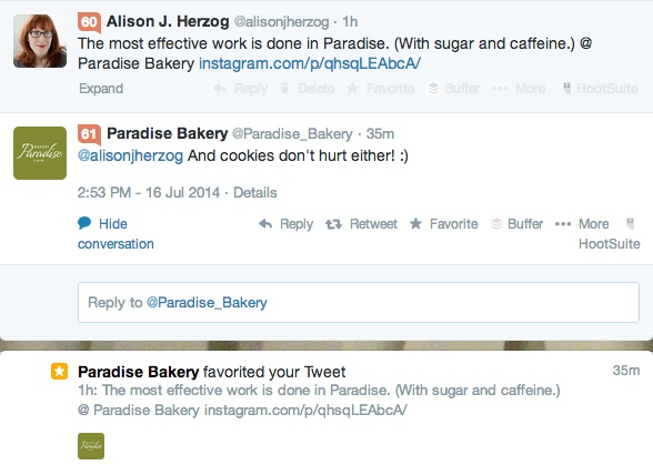 Paradise Bakery responds to untagged tweet and demonstrates that they listen